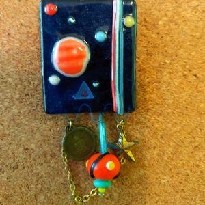 Lampworked OOAK Brooch,Solar System